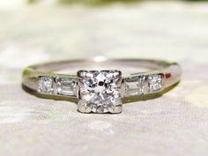 Platinum Antique Engagement Ring Old by LadyRoseVintageJewel