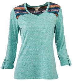 Natural Reflections Embellished Shoulder V-Neck T-Shirt for Ladies   Bass Pro Shops