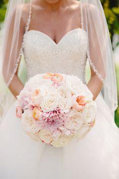 Gorgeous round bouquet: http://www.stylemepretty.com/michigan-weddings/kalamazoo/2015/05/18/romantic-blush-pink-michigan-wedding/ | Photography: K. Holly - http://www.kholly.com/