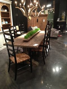 Long dining table by Four Hands Furniture. // www.KeyHomeFurnishings.com in Portland, Or
