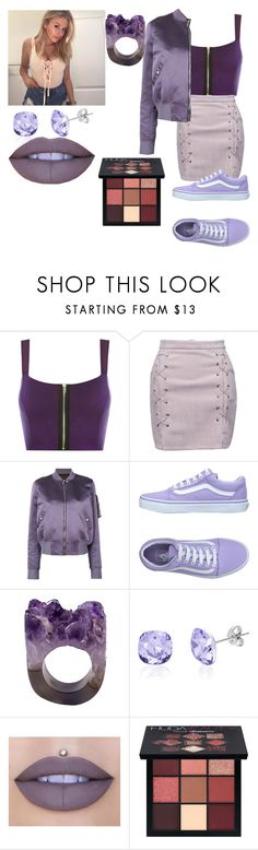 """""""Purple🔮"""" by phoeinx ❤ liked on Polyvore featuring WearAll, WithChic, Rick Owens, Vans, Lesa Michelle, Jeffree Star and Huda Beauty"""
