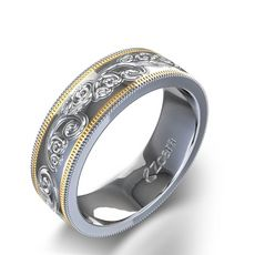 MEN Lovely Wedding Alliance of Hand Engraving Gold 14K White and Yellow