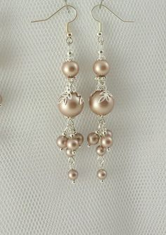 Items similar to CASCADE Wedding Earrings Pearl Earrings Waterfall Earrings Long Bridal Earrings Blush Jewelry Antique Jewelry Gift Silver Vintage Jewelry on Etsy Pearl Earrings Wedding, Bride Earrings, Drop Earrings, Jewellery Earrings, Silver Jewellery, Pearl Bridal, Skull Jewelry, Hippie Jewelry, Shabby Chic Earrings