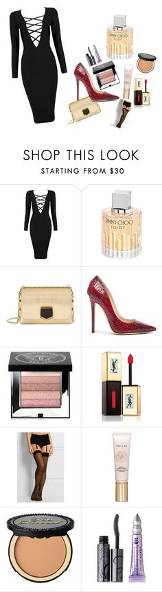 """new years eve"" by sorinamv on Polyvore featuring Posh Girl, Jimmy Choo, Bobbi Brown Cosmetics, Yves Saint Laurent, Wolford, Paul & Joe Beaute, Too Faced Cosmetics, Urban Decay, black and fabulous"