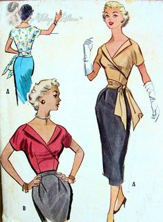 1950s McCalls 9551 Bombshell Surplice Wrap Blouse Pattern With or Without Side Sash Low Open V Neckline