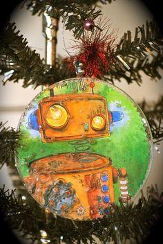 robot mixed media ornament