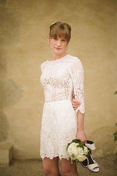 Short wedding dress, wedding in France, rural French wedding, rustic French wedding, relaxed and intimate wedding, Photograpy by Tom Ravenshear