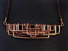Copper Necklace Petra Design Geometric Necklace by jamiespinello