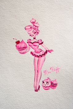 Cupcake Pin Up Doll Original Drawing by HouseOfFluff on Etsy, $75.00
