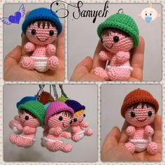Samyeli's Weaves: Baby Keychain Making - bigele - Amigurumi , Crochet , Knitting Crochet Doll Clothes, Knitted Dolls, Crochet Dolls, Mobiles En Crochet, Crochet Mobile, Crochet Patterns Amigurumi, Amigurumi Doll, Crochet Keychain, Crochet Bunny