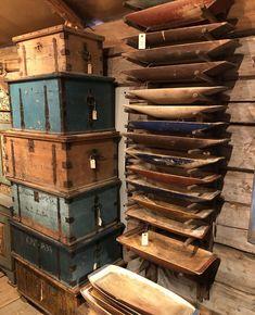 """Hårga Antik on Instagram: """"Miljöbild från Hårga Antik med tråg, kistor och åter tråg, i alla tänkbara storlekar kulörer. De är samtliga från 1800-talet och flera bär…"""""""