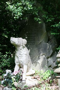 Grave of William French Who lost his life on July 13th 1896 while saving a dog from drowning in Highgate Ponds. This monument erected in commemoration of his brave deed was raised by public subscription and was contributed to by all classes of lovers of dumb animals. - St Pancras and Islington Cemetery, London