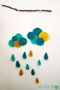 crochet cloud and rain wall hanging