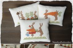 3 PDF primitive cross stitch pattern Rabbits at Work