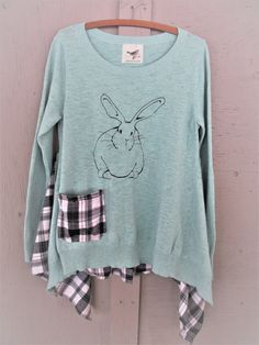 upcycled romantic tunic bunny tshirt upcycled clothing comfy
