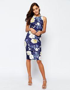 ASOS Floral Scuba Crop Top Midi Body-Conscious Dress