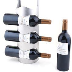 2016 New Stainless Steel Wall Mounted Wine Rack Wine Bottle Rack Holder -3 Bottles Metal Hanging Wall Wine Rack