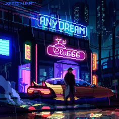 A genre of science fiction and a lawless subculture in an oppressive society dominated by computer technology and big corporations. What Is Cyberpunk, Cyberpunk City, Pixel Art, Pixel Animation, 8bit Art, Pixel Games, City Illustration, Anime Art Girl, 8 Bit