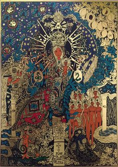 The pillar of the virgin Mary (the silkscreen on the gold foil; my artwork) / Mariánský sloup (sítotisk na zlatou fólii; má výtvarná práce)