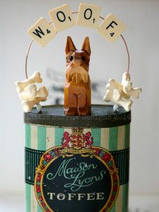 Woof Storybox Sculpture, by Little Burrow Designs. Upcycled / recycled /reworked vintage sculpture. Textiles, embroidery, mixed media, assemblage, wirework, tin art, altered tin art, www.littleburrowdesigns.co.uk www.facebook.co.uk/littleburrowdesigns