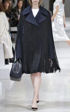 Navy Wool Peacoat With Black Fringes by NINA RICCI Now Available on Moda Operandi