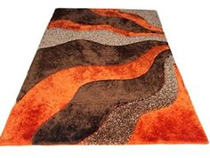 Light Orange Dark Orange Brown Simple wave design Shaggy shag Area Rug Two Toned Hand Woven Tufted 3 Dimensional Viscose Yarns Thick Pile Living Room White, White Rooms, Rugs In Living Room, Wood Repair, Baby Blue Colour, Orange Rugs, Cool Rugs, Shaggy Rugs, White Area Rug