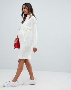 Shop the latest Mamalicious roll neck sweater dress trends with ASOS! Roll Neck Sweater, Fashion Online, Asos, Maternity, Fashion Dresses, White Dress, Sweaters, Shopping, Style