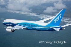 Boeing 787 Dream Liner. First flight -12/15/09. Key to its performance is new technologies. Composite materials make up 50 percent of the primary structure. It has health-monitoring systems that allow it to self-monitor and report maintenance requirements to ground-based computer systems. Advances in engine technology are the biggest contributor to overall fuel efficiency improvements. Manufacturing a one-piece fuselage section eliminated 1,500 aluminum sheets and 40,000 - 50,000 fasteners.