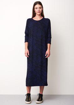 DRESS MIME WAVES BLACK & BLUE - Rodebjer