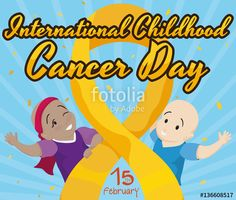Happy Bald Kids Celebrating Childhood Cancer Day with Golden Ribbon
