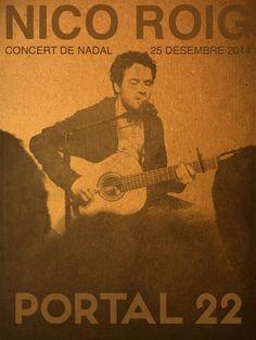 Disseny cartell concert de nadal de Nico Roig al Portal 22. Concert íntim i familiar, ideal per el dia de nadal. Poster design.