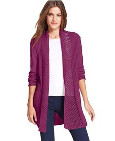 NY Collection Long-Sleeve Pointelle Cardigan - Sweaters - Women - Macy's
