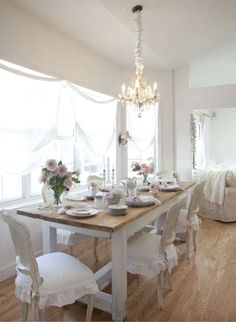 Simply but beautiful! A dining room - all white, scads of windows and so lovely.