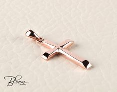 Rose Gold Cross Necklace Rose Gold Pendant for Men Rose Gold Cross Pendant Mens Cross Pendant Mens Cross Necklace Solid Gold Cross for Men by BloomDiamonds on Etsy