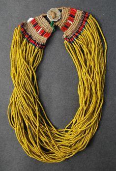 Naga necklace from the Konyak tribe, Nagaland. Glass beads. ty, Virginia Burnett. via ethnic jewels