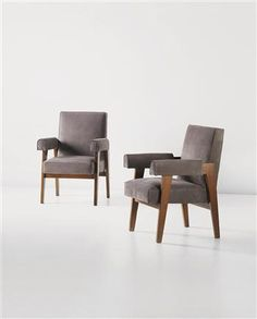 'Advocate and Press' armchairs, model no. LC/PJ-SI-41-A, designed for the High Court, Chandigarh, India, Designed by Le Corbusier and Pierre Jeanneret, c.1955-1956,  Literature: Le Corbusier, My Work, London, 1960, p241 /   Eric Touchaleaume and Gerald Moreau, Le Corbusier Pierre Jeanneret, The Indian Adventure, Design-Art-Architeture, Paris, 2010, pp168-169, 567