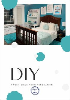 Need ideas for a bedroom makeover for a tween girl? Look no further! Here is a beautiful, fun, colorful room makeover with teal, aquamarine, and blue and green colors for a bright and happy bedroom. DIY project, perfect for your tween or teen!