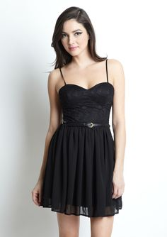 SHIRLY  Spaghetti Dress with Lace Top and Belt