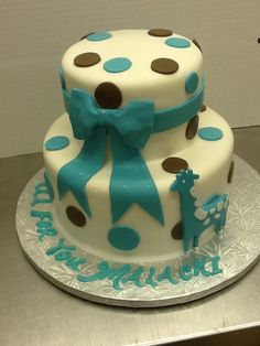 Calumet Bakery  Fondant Giraffe Two Tier Baby Shower Cake.