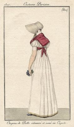 Back of white gown with pink fichu 1807 Costume parisien
