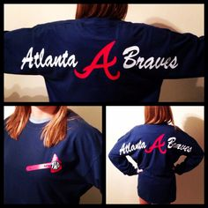 Atlanta Braves Oversized Text Comfort Colors Long Sleeve T-Shirt with Tomahawk Monogram from YallFancyBoutique on Etsy. Atlanta Braves, Braves Baseball, Braves Game, Shilouette Cameo, Summer Outfits, Cute Outfits, Comfort Colors, Dress Me Up, Passion For Fashion