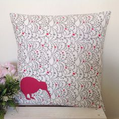 Cushion Cover Grey Bunting Pattern Fabric by natandalicreative