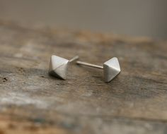 Square Pyramid surgical steel post or stud  Earrings. Geometric Earrings.  DoubleBJewelry, DoubleB, Double B