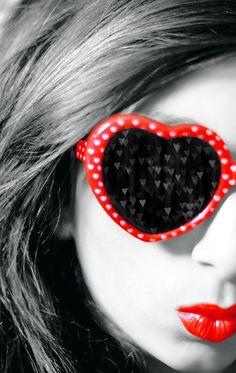 Polka dot heart sunglasses. Selective color #photography.