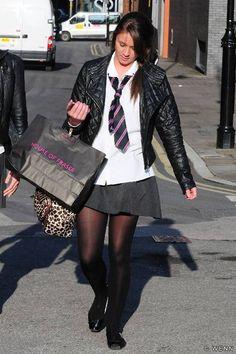 Brooke Vincent (Left) - Sophie Webster in Coronation Street School Uniform Outfits, Cute School Uniforms, Cute Tights, Black Tights, Fashion Tights, Tights Outfit, Brooke Vincent, Catholic School Girl, Thigh High Leggings