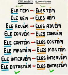 Portuguese Grammar, Portuguese Lessons, Portuguese Language, Learn Brazilian Portuguese, Learn Another Language, School Study Tips, Study Hard, Canal E, School Hacks