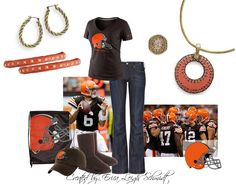 "Cleveland Browns ""Basket Weave"" chain, ""Double Take"" enhancer. ""Fired Up"" bracelet (x2) ""Simple Twist"" earrings, ""Jasmine"" ring."