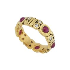 Alex Sepkus Ruby Band Ring with Diamond