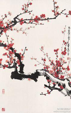 董寿平 国画《红梅》--- 董寿平先生善画梅,朱砂红梅堪称绝技,画梅繁中有简,简中有繁,繁而不乱,简而有理。