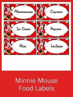Minnie Mouse Food Labels - FREE PDF Download